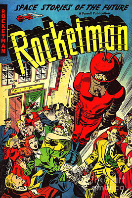 Classic Comic Book Cover Rocketman June Poster by Wingsdomain Art and Photography