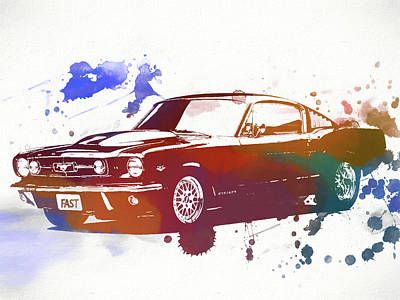 Classic Ford Mustang Watercolor Splash Poster by Dan Sproul