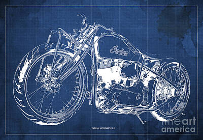 Classic Indian Motorcycle Blueprint Poster