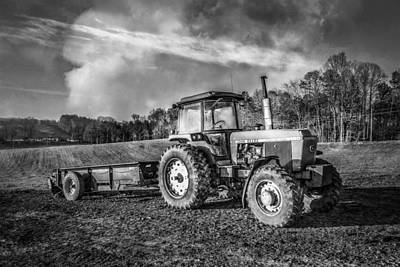 Classic John Deere Tractor In Black And White Poster by Debra and Dave Vanderlaan