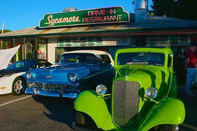 Classic Lime Green Car In Front Of The Sycamore Poster