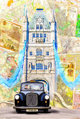 Classic London Black Cab Poster by Mark E Tisdale