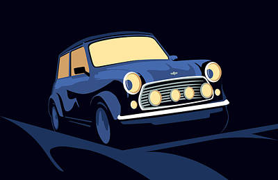 Classic Mini Cooper In Blue Poster by Michael Tompsett