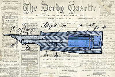 Classic Pen Drawing Patent, Blue On Old Newspaper Poster
