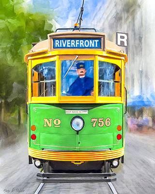Classic Streamline Streetcar - Savannah Riverfront Poster