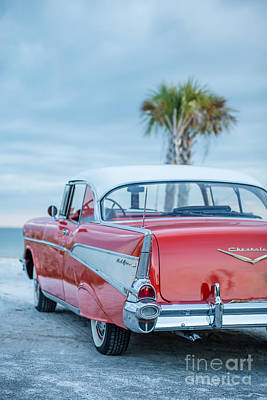 Classic Vintage Red Chevy Belair  Poster by Edward Fielding