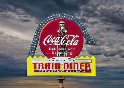 Classic Vintage Sign For A Train Diner And Coca-cola Poster
