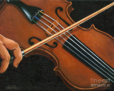 Poster featuring the painting Classic Violin by Linda Apple
