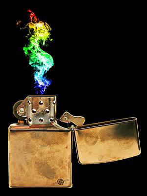 Classic Zippo Lighter Rainbow Flame Poster by Tony Rubino