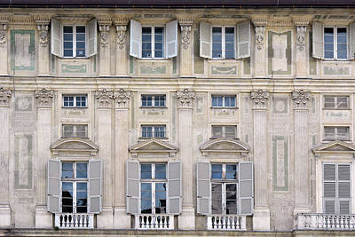 Classical Details On A Building Facade From Genova, Italy Poster