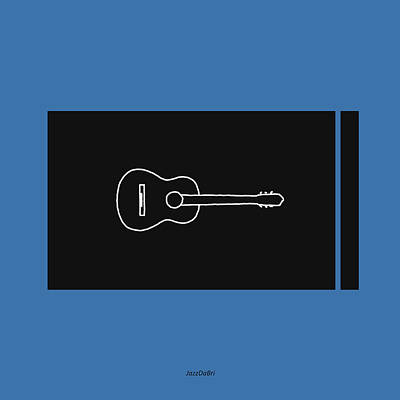 Classical Guitar In Blue Poster by David Bridburg