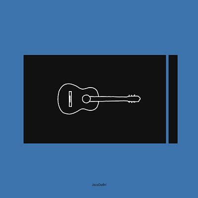 Classical Guitar In Blue Poster