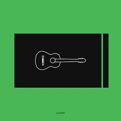 Classical Guitar In Green Poster by David Bridburg