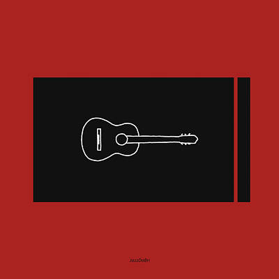 Classical Guitar In Orange Red Poster by David Bridburg