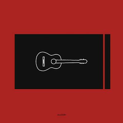 Classical Guitar In Orange Red Poster