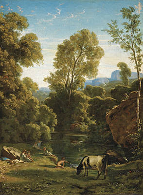 Classical Landscape With Figures By A Lake Poster by Paul Flandrin