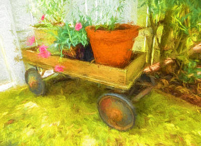 Clay Pot In Wooden Wagon Poster