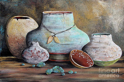 Poster featuring the painting Clay Pottery Still Lifes-b by Jean Plout