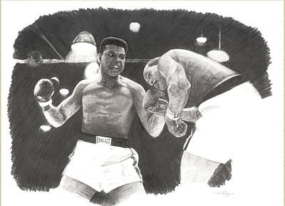 Poster featuring the drawing Clay Vs Liston 1 by Noe Peralez