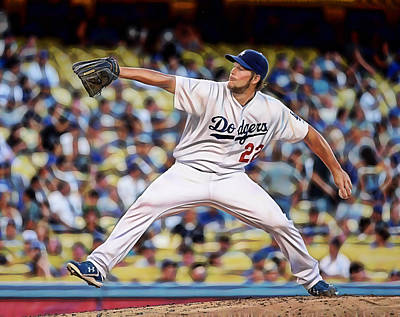 Clayton Kershaw Baseball Poster by Marvin Blaine