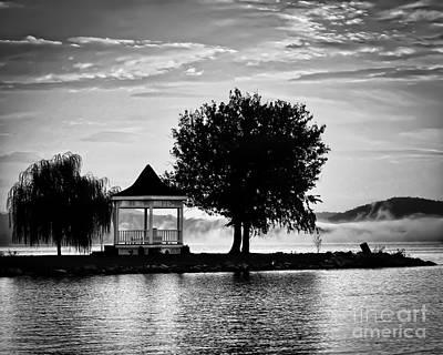 Claytor Lake Gazebo - Black And White Poster