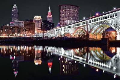 Poster featuring the photograph Cle In Selective Color by Frozen in Time Fine Art Photography