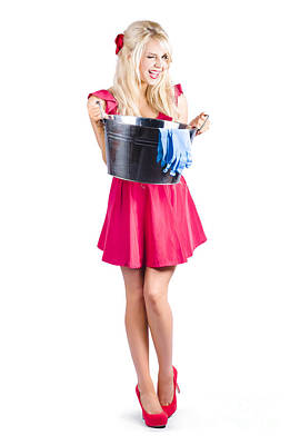 Cleaning Maid With Metal Wash Bucket Poster