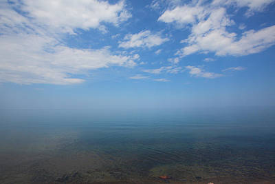 Clear Blue Waters With Clouds, Lake Superior Poster