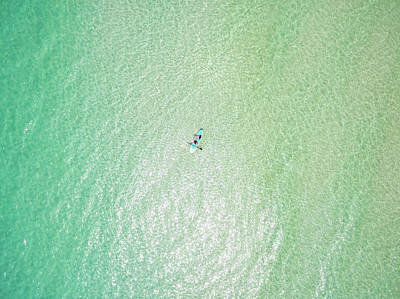 Clear Gulf Paddle Board Aerial Poster