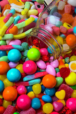 Clear Jar Spilling Candy Poster