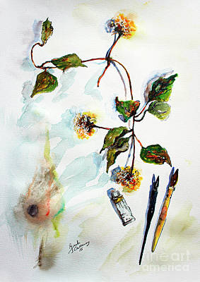 Poster featuring the painting Clematis Seed Pods Still Life And Objects by Ginette Callaway