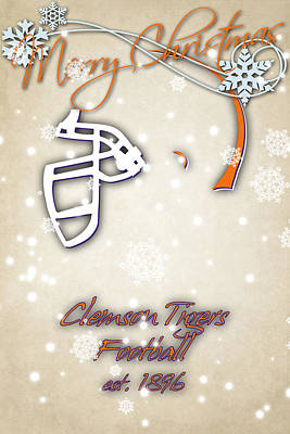 Clemson Tigers Christmas Card 2 Poster