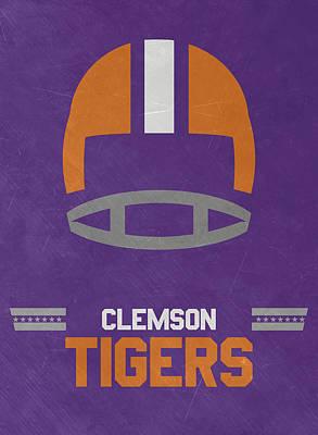Clemson Tigers Vintage Football Art Poster