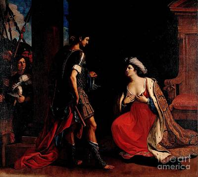 Poster featuring the painting Cleopatra And Octavian by Pg Reproductions