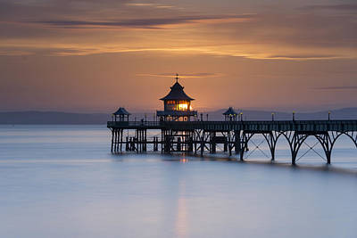 Clevedon Pier Sunset Poster by Carolyn Eaton