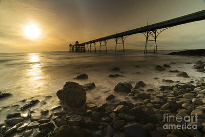 Clevedon Pier Sunset  Poster by Rob Hawkins
