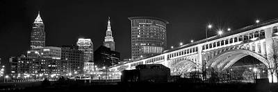 Cleveland Black And White Panoramic Poster