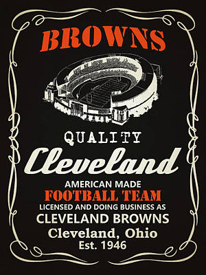 Cleveland Browns Whiskey Poster by Joe Hamilton