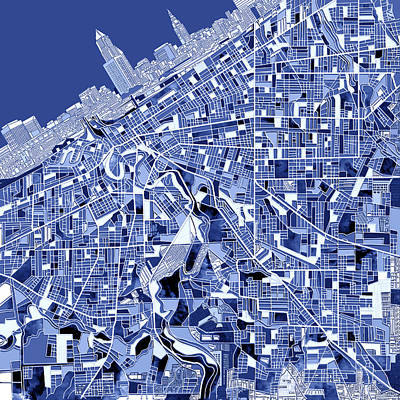 Cleveland Map Blue Poster by Bekim Art