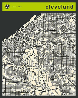 Cleveland Street Map Poster by Jazzberry Blue