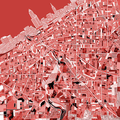 Cleveland Map Red Poster by Bekim Art