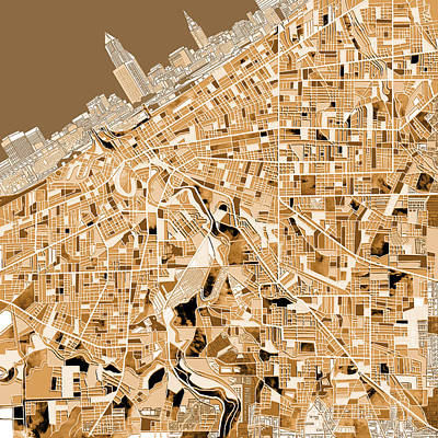 Cleveland Map Sepia Poster by Bekim Art