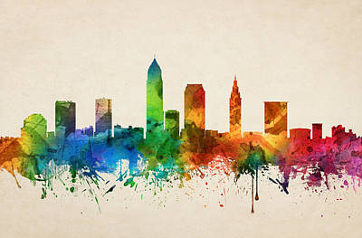 Cleveland Ohio Skyline 05 Poster by Aged Pixel
