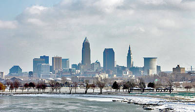 Cleveland Skyline In Winter Poster