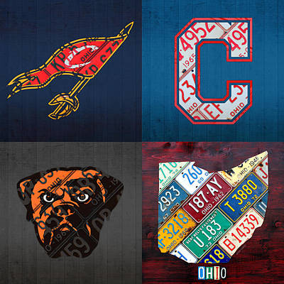 Cleveland Sports Fan Recycled Vintage Ohio License Plate Art Cavaliers Indians Browns And State Map Poster by Design Turnpike