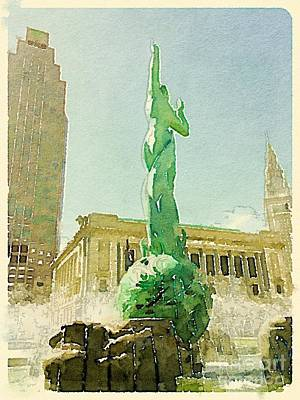 Cleveland War Memorial Fountain Poster by Janet Dodrill