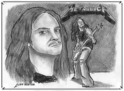 Poster featuring the drawing Cliff Burton by Chris  DelVecchio