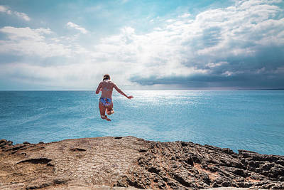 Poster featuring the photograph Cliff Jumping by Break The Silhouette