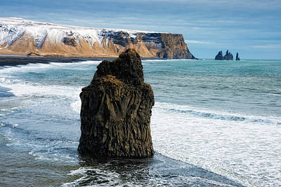 Poster featuring the photograph Cliffs And Ocean In Iceland Reynisfjara by Matthias Hauser