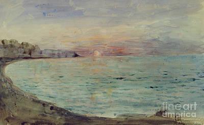 Cliffs Near Dieppe Poster by Ferdinand Victor Eugene Delacroix